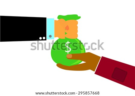 Hand - Rich Man Hand Give a Sack of Money to Poor Man Hand - Dollar (isolated on white) - stock vector