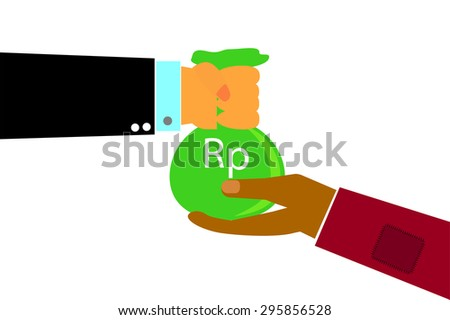 Hand - Rich Man Hand Give a Sack of Money to Poor Man Hand - Rupiah (isolated on white)  - stock vector