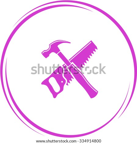 hand saw and hammer. Internet button. Vector icon. - stock vector