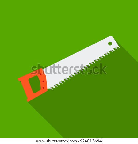 Hand saw icon in flat style isolated on white background. Build and repair symbol stock vector illustration.