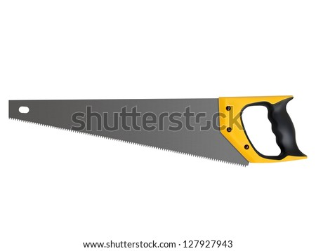Hand saw with hardened teeth isolated on white background