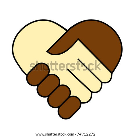 Hand shake between black and white man, heart shaped symbol - stock vector