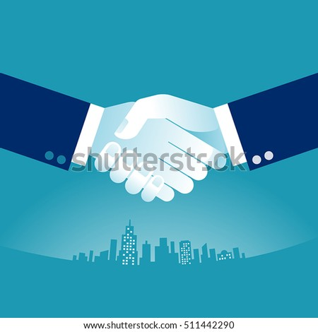Hand shake. Businessmen shaking hands on a background of skyline. Concept business vector illustration