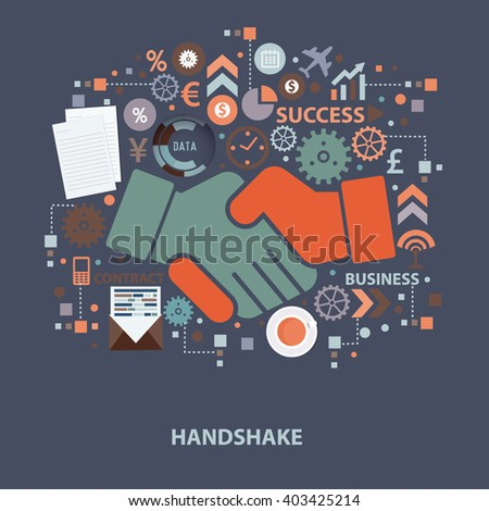 Hand shake concept design on clean background,vector - stock vector