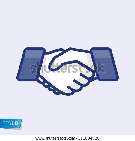 Hand shake, vector Eps 10 illustration. - stock vector