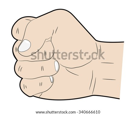 Hand showing a a fist on a white background