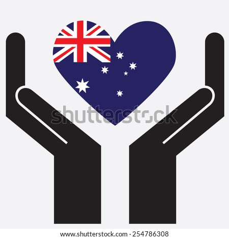 Hand showing Australia flag in a heart shape. Vector illustration. - stock vector