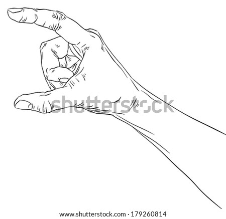 Hand showing big value, or use it to put some object between the fingers, detailed black and white lines vector illustration, hand drawn.
