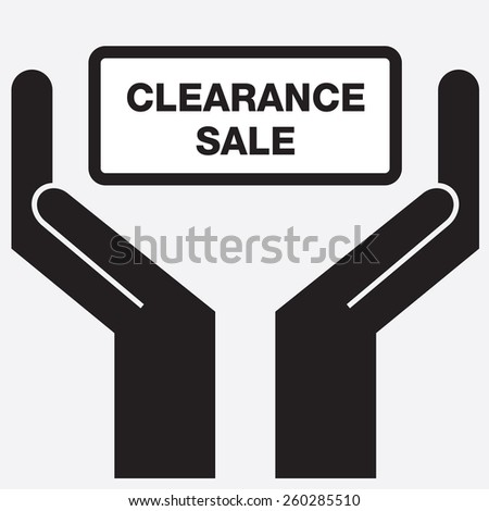 Hand showing clearance sale sign icon. Vector illustration. - stock vector