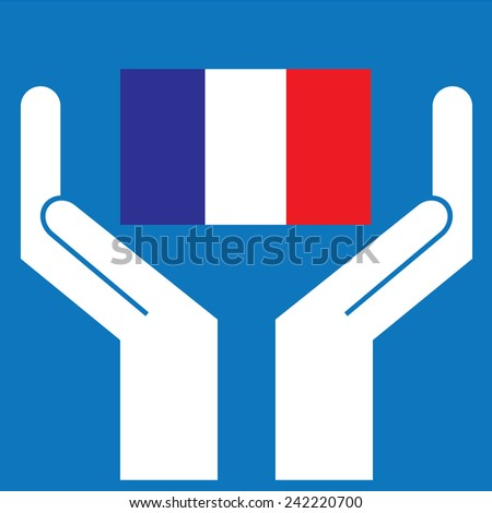 Hand showing France Flag. Vector illustration - stock vector
