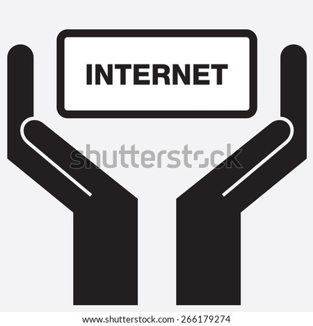 Hand showing internet sign icon. Vector illustration. - stock vector
