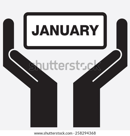 Hand showing january message. Vector illustration.