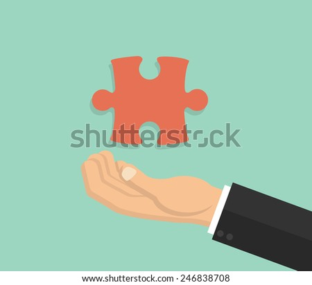 Hand showing jigsaw puzzle piece - flat style - stock vector