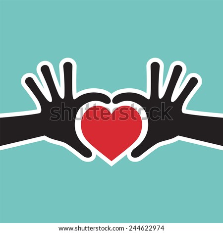 Hand Showing Love Heart Symbol Vector - Valentine Heart Symbol - stock vector