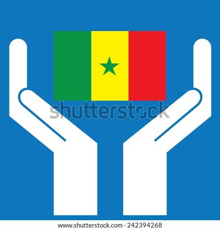Hand showing Senegal Flag. Vector illustration  - stock vector