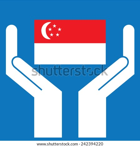 Hand showing Singapore Flag. Vector illustration  - stock vector