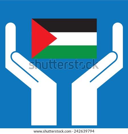 Hand showing Sudan Flag. Vector illustration - stock vector