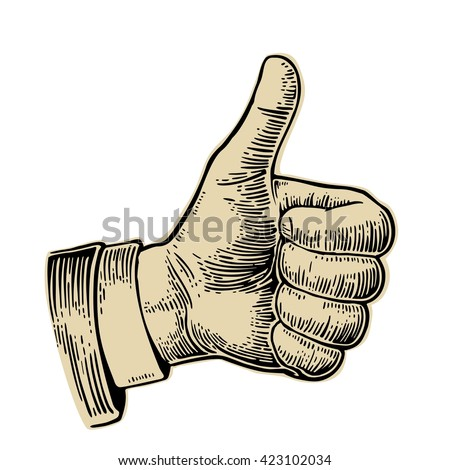 Hand showing symbol Like. Making thumb up gesture. Vector black and beige vintage engraved illustration isolated on a white background. Sign for web, poster, info graphic - stock vector