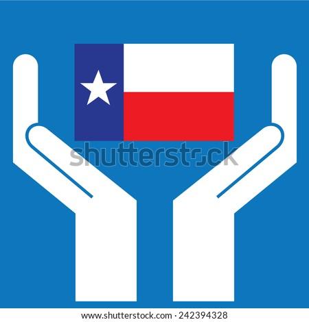 Hand showing Texas Flag. Vector illustration  - stock vector