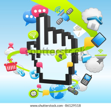 Hand sign,cloud computing,business ,office set - stock vector