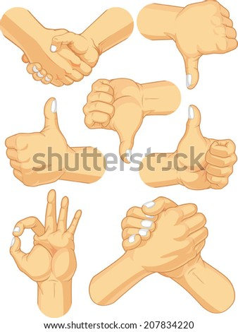 Hand Sign Collection - Business Gestures - stock vector