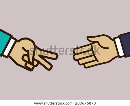 Hand sign design over purple background, vector illustration