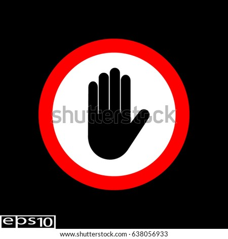 Hand sign , icon like stop information icon - vector illustration