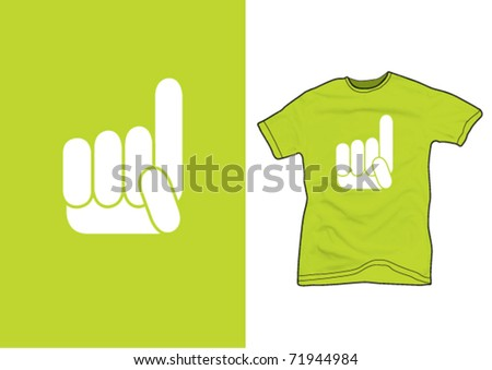 Hand sign on a green shirt - stock vector