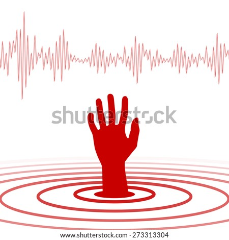 Hand sign used to help from earthquake - stock vector