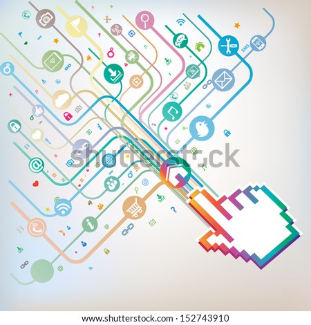 Hand sign with social media concept - stock vector