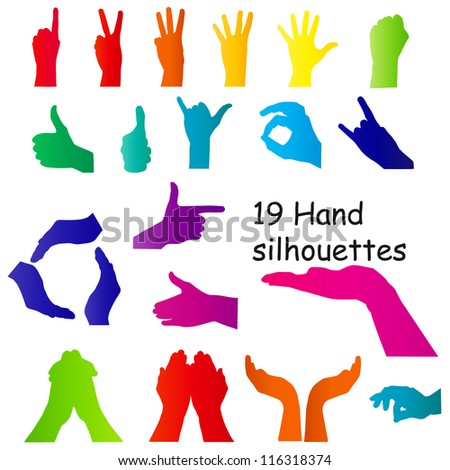 hand signal silhouettes on white. vector illustration - stock vector