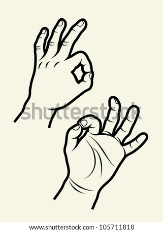 """Hand signs vector. Useful hand symbol for any design. Find other my """"Hand signs vector"""" in  my portfolio gallery - stock vector"""
