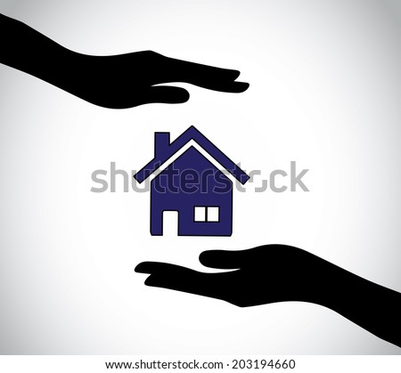 hand silhouette protecting simple colorful home house insurance. human silhouette hands taking care and supporting a simple home - concept illustration art - stock vector