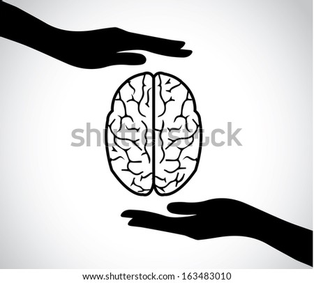 hand silhouettes protecting a human brain or mind - mental health services icon or symbol concept design vector illustration art - stock vector