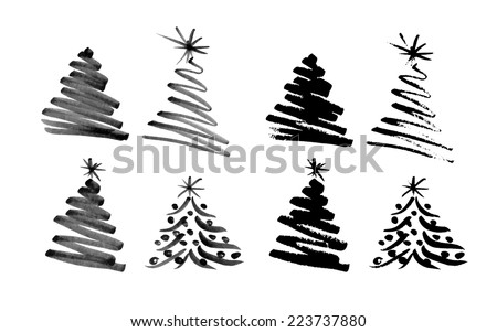 Hand sketch Christmas tree. Vector illustration - stock vector