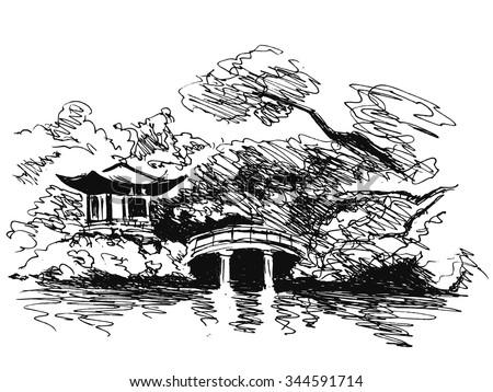 Japanese Garden Bridge Drawing japan kyoto garden stock vectors, images & vector art | shutterstock