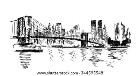hand sketch New York - stock vector