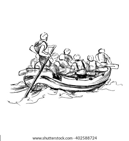 Hand sketch of people on a raft - stock vector
