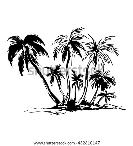 Hand sketch of the island with palm trees. Vector illustration