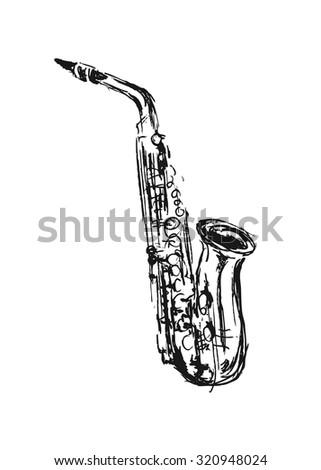 hand sketch saxophone - stock vector
