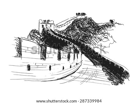 hand sketch the great Wall of China - stock vector