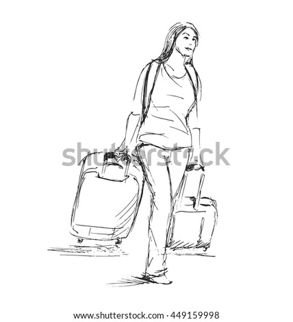Hand sketch woman with a suitcase. Vector illustration - stock vector