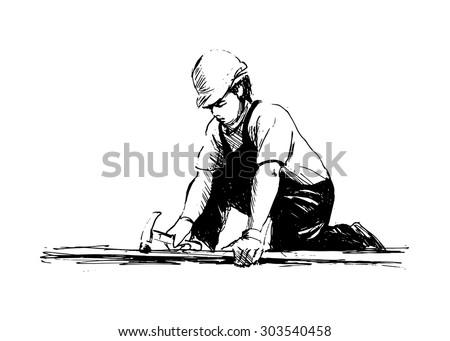 hand sketch worker - stock vector