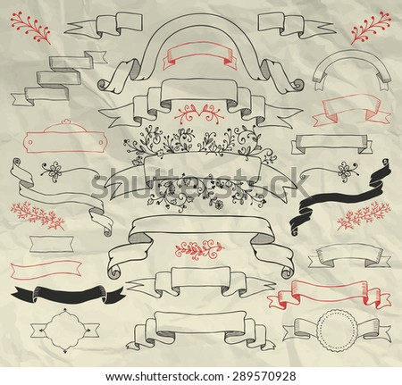 Hand Sketched Doodle Design Elements on Crumpled Paper Texture. Artistic Decorative Floral Banners, Ribbons, Branches, Frames Collection. Pen Drawing Vector Illustration.  - stock vector