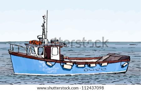 Fishing Boats Drawings Drawing of a Fishing Boat