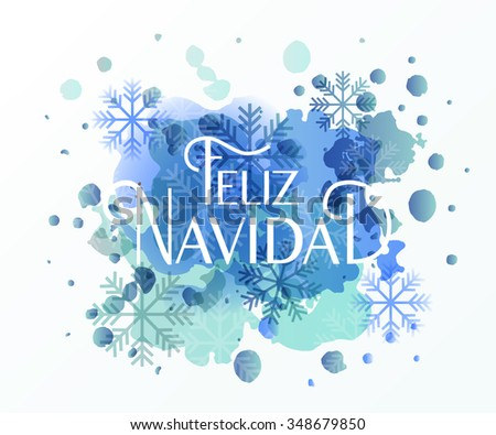 Hand sketched Feliz Navidad (Merry Christmas In spanish) logotype, badge and icon typography. Lettering of Feliz Navidad for greeting card template. Feliz Navidad banner, flyer - stock vector
