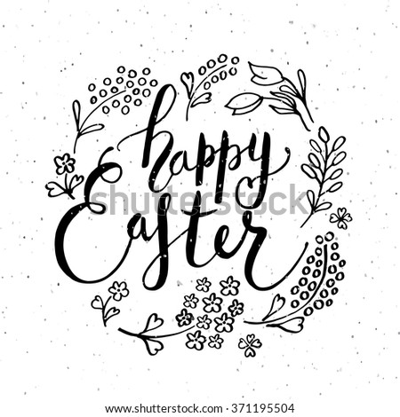 Hand Sketched Happy Easter Text Easter Vector 595262624 – Easter Postcard Template