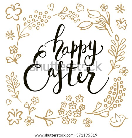 Hand Sketched Happy Easter Text Logotype Vector 371195519 – Easter Postcard Template