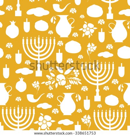 Hand sketched Happy Hanukkah seamless pattern with objects set. Happy Hanukkah background. Happy Hanukkah card template. Happy Hanukkah banner, flyer