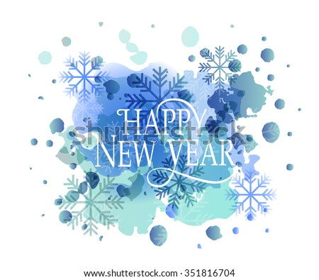 Hand sketched Happy New 2016 Year watercolor logotype, badge and icon typography. Hand drawn lettering of Happy 2016  New Year for New Year greeting card template. Happy New 2016 Year banner, flyer - stock vector